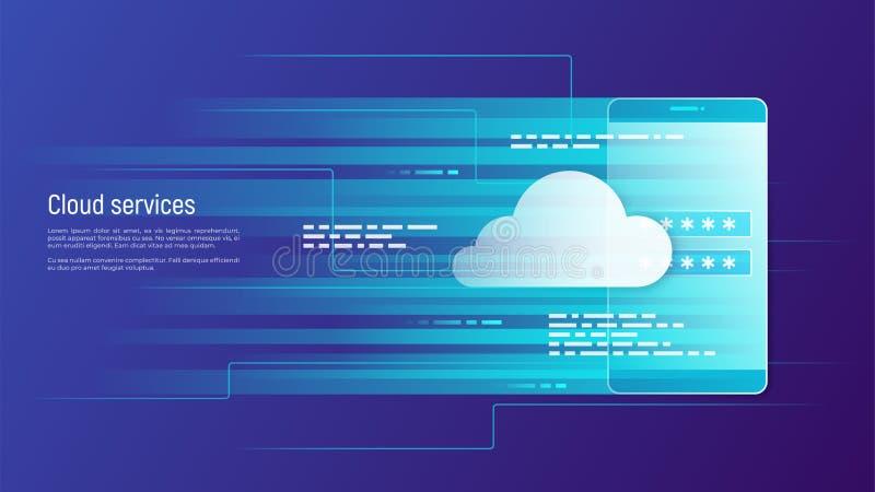 Υπηρεσίες σύννεφων, μακρινή διανυσματική έννοια αποθήκευσης στοιχείων διανυσματική απεικόνιση