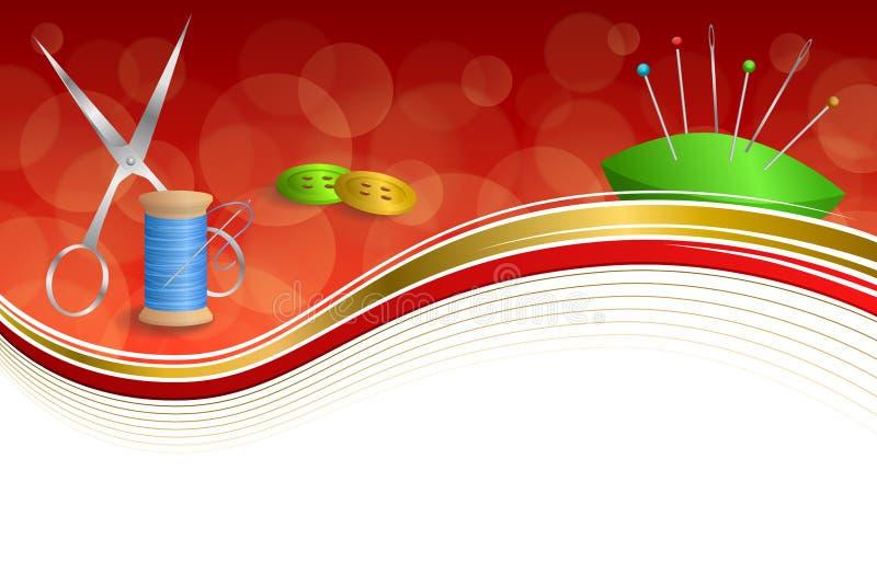 Υποβάθρου αφηρημένη ράβοντας νημάτων εξοπλισμού ψαλιδιού κουμπιών βελόνων απεικόνιση πλαισίων κορδελλών καρφιτσών γαλαζοπράσινη κ ελεύθερη απεικόνιση δικαιώματος