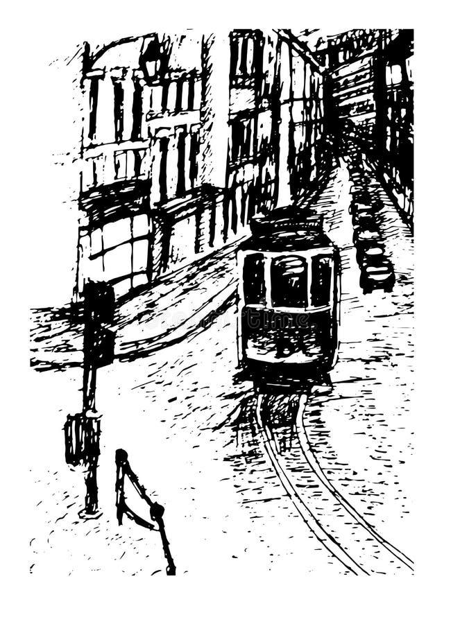 Υποβάθρου συρμένη χέρι απεικόνιση τραμ της Λισσαβώνας εικονικής παράστασης πόλης άποψης γραφική ελεύθερη απεικόνιση δικαιώματος