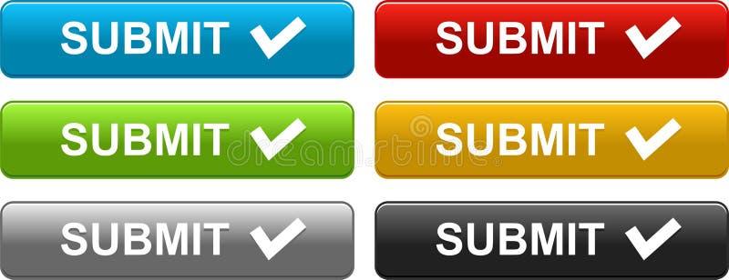 Υποβάλτε τα κουμπιά Ιστού ζωηρόχρωμα στο λευκό ελεύθερη απεικόνιση δικαιώματος