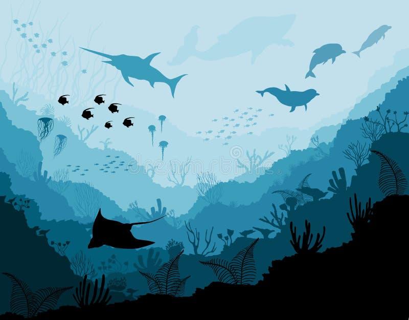 Υποβρύχια άγρια φύση, παραλλαγή ήχου τζαζ, καρχαρίας, δελφίνια διανυσματική απεικόνιση