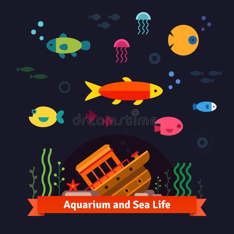 Υποβρύχια ζωή θάλασσας Ενυδρείο απεικόνιση αποθεμάτων