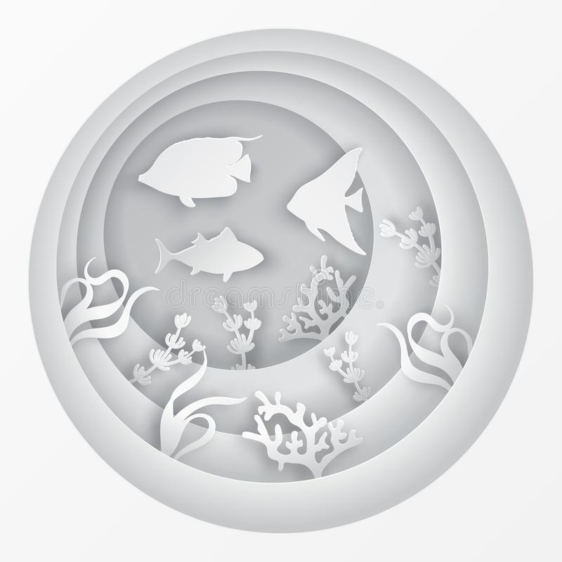 Υποβρύχια σπηλιά θάλασσας εγγράφου με τα ψάρια, κοραλλιογενής ύφαλος ελεύθερη απεικόνιση δικαιώματος