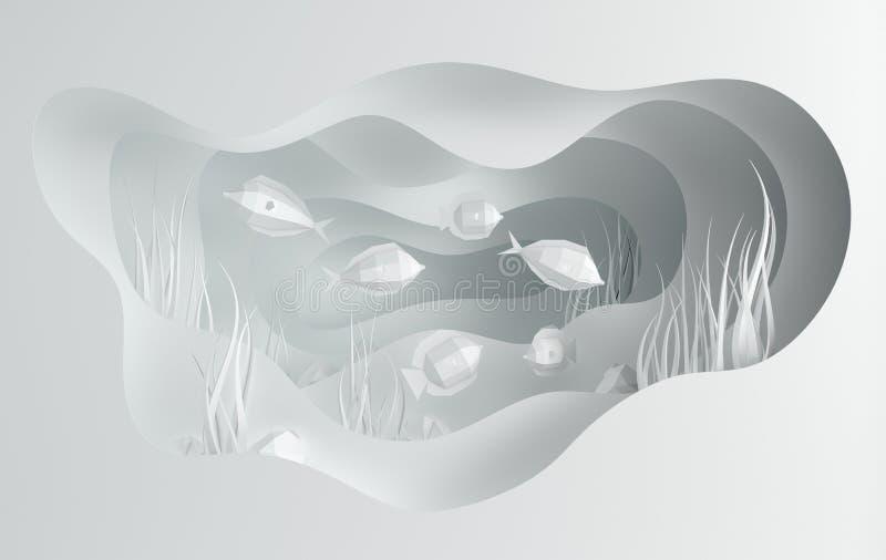 Υποβρύχια σπηλιά θάλασσας εγγράφου με τα ψάρια, πέτρες, βυθός στα άλγη, κύματα Το έγγραφο έκοψε το βαθύ ύφος τρισδιάστατο δίνει Β διανυσματική απεικόνιση