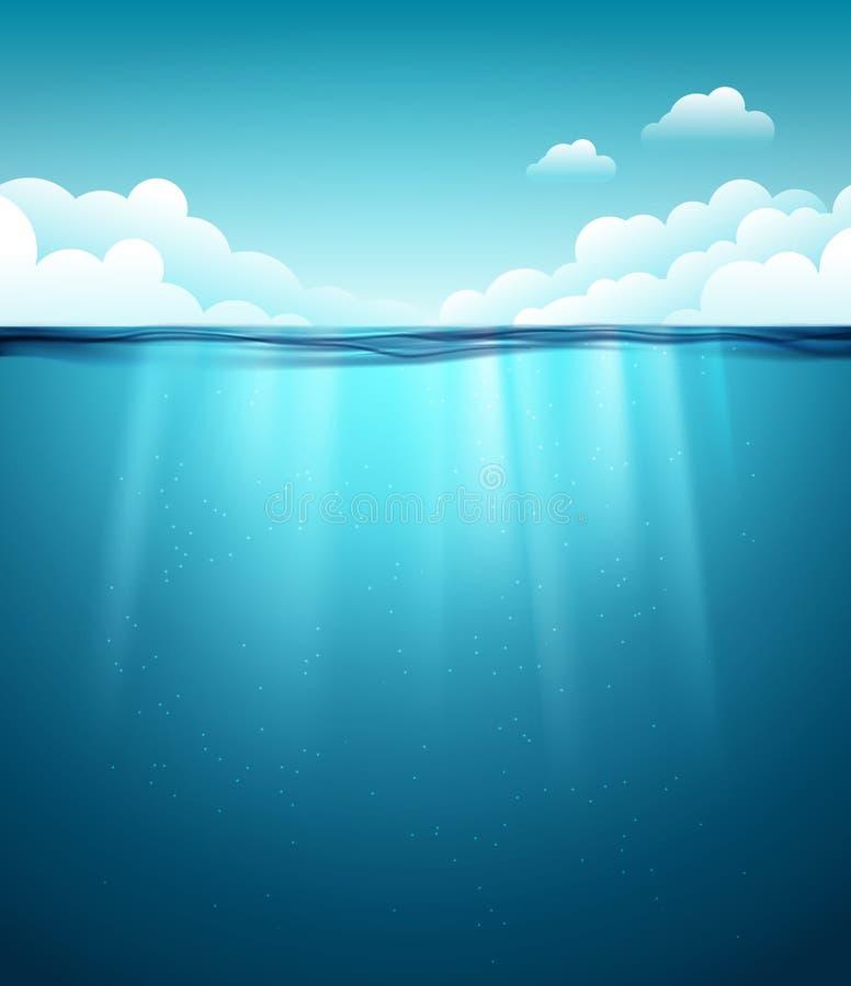 Υποβρύχια ωκεάνια επιφάνεια μπλε ύδωρ ανασκόπησης Καθαρό υποβρύχιο σκηνικό θάλασσας φύσης με τον ουρανό διανυσματική απεικόνιση