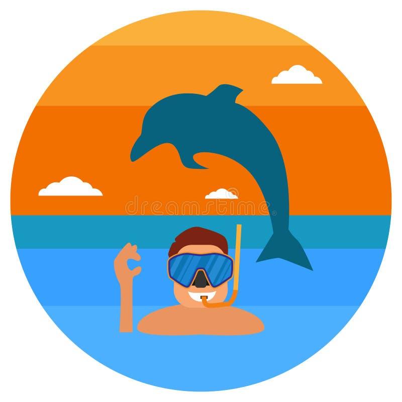 Υποβρύχιος αθλητικός τύπος με τη μάσκα και τα βατραχοπέδιλα Άτομο δυτών σκαφάνδρων στο στρογγυλό εικονίδιο κοστουμιών κατάδυσης Έ απεικόνιση αποθεμάτων