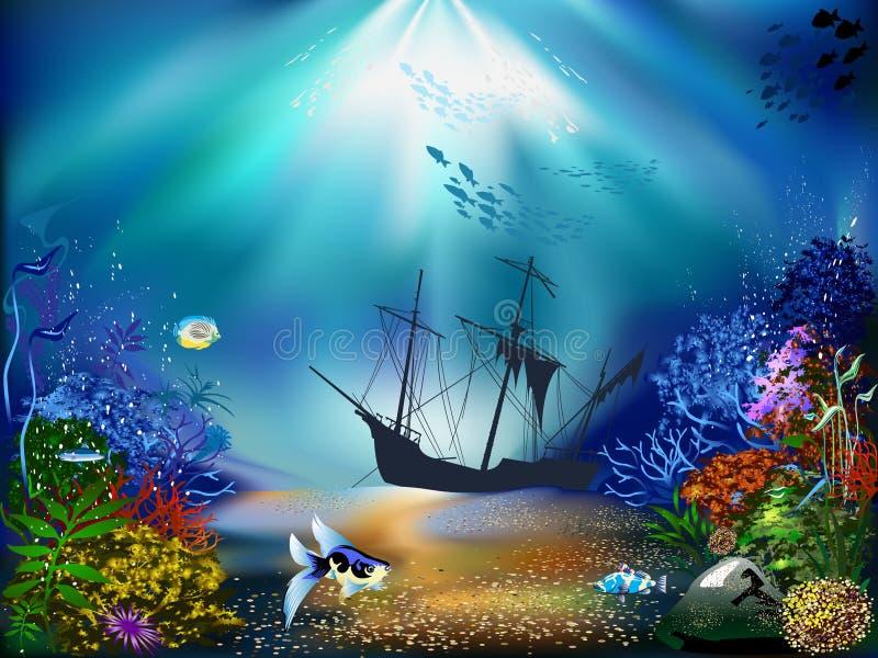 υποβρύχιος κόσμος διανυσματική απεικόνιση