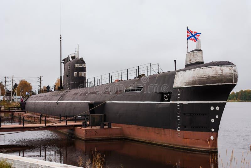 Υποβρύχιο ` β-440 `, η πόλη Vytegra, περιοχή Vologda, Ρωσική Ομοσπονδία 29 Σεπτεμβρίου 2017 Το μουσείο της στρατιωτικής δόξας του στοκ φωτογραφία με δικαίωμα ελεύθερης χρήσης