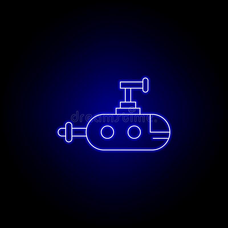 υποβρύχιο, εικονίδιο γραμμών ρομπότ στο μπλε ύφος νέου E διανυσματική απεικόνιση