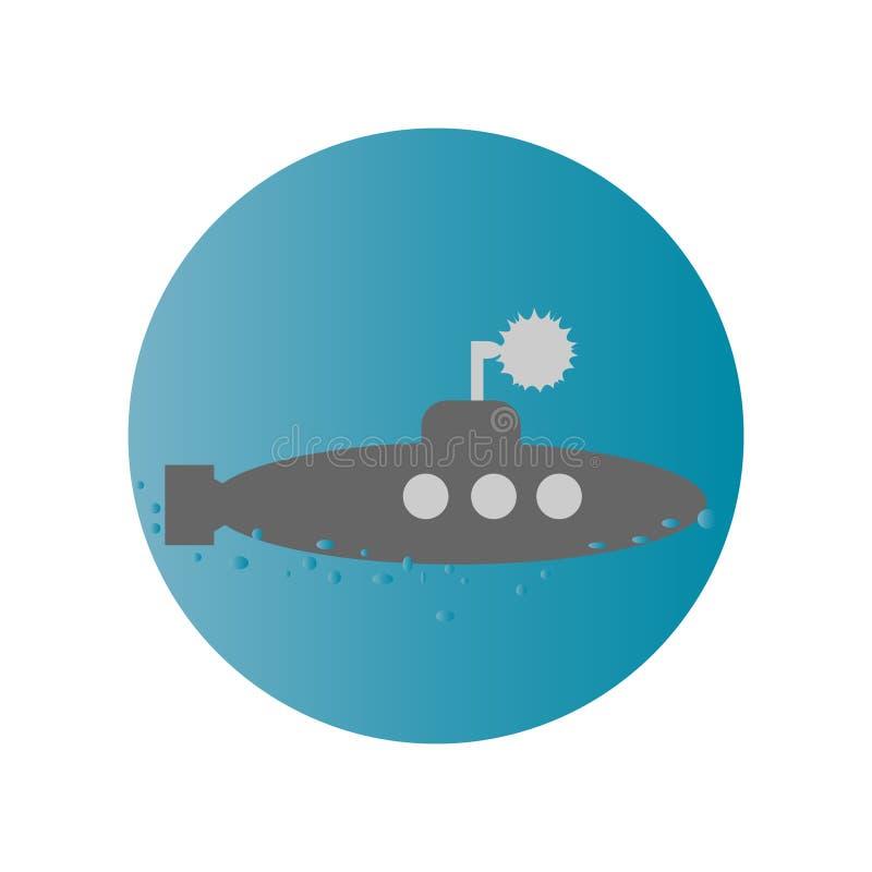 Υποβρύχιο επίπεδο σχέδιο Ιστού εικονιδίων στοκ εικόνες