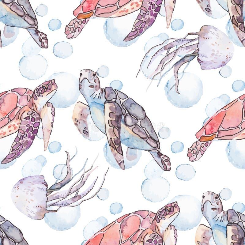 Υποβρύχιο σχέδιο θάλασσας Χελώνες και μέδουσα θάλασσας ωκεανός απεικόνιση αποθεμάτων