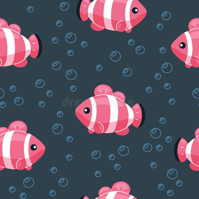 Ζωηρόχρωμο άνευ ραφής σχέδιο ψαριών Υποβρύχιο υπόβαθρο ζωής στο ύφος κινούμενων σχεδίων Συρμένα χέρι τροπικά ψάρια στο σκηνικό με ελεύθερη απεικόνιση δικαιώματος