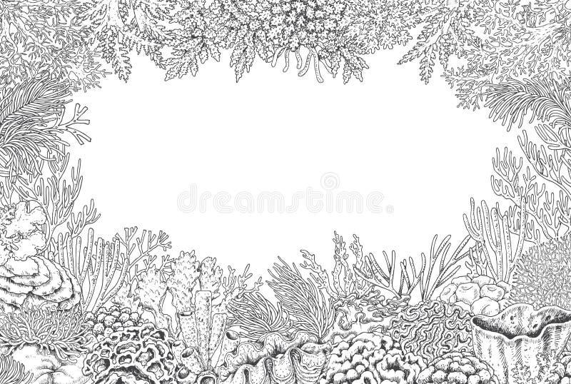 Υποβρύχιο υπόβαθρο με τα κοράλλια διανυσματική απεικόνιση