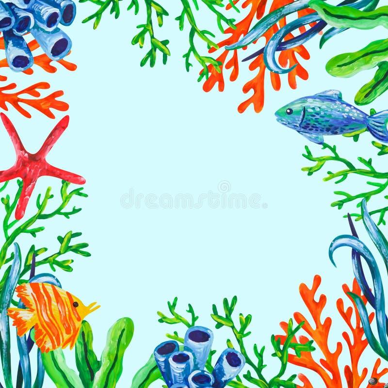 Υποβρύχιο υπόβαθρο πλαισίων χρώματος ζώων, κοραλλιών και αλγών θάλασσας Ακρυλική drwan θαλάσσια απεικόνιση χεριών χρωμάτων διανυσματική απεικόνιση