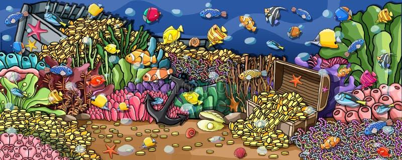 Υποβρύχιο χρώμα τοίχων θησαυρών ζώων διανυσματική απεικόνιση