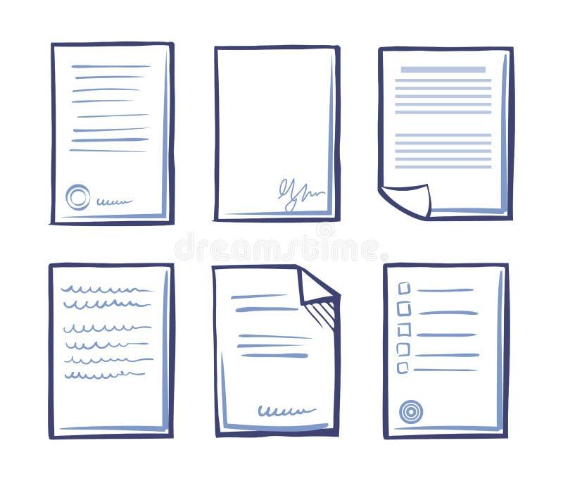 Υπογεγραμμένη σύμβαση με το διάνυσμα κειμένων και υπογραφών απεικόνιση αποθεμάτων