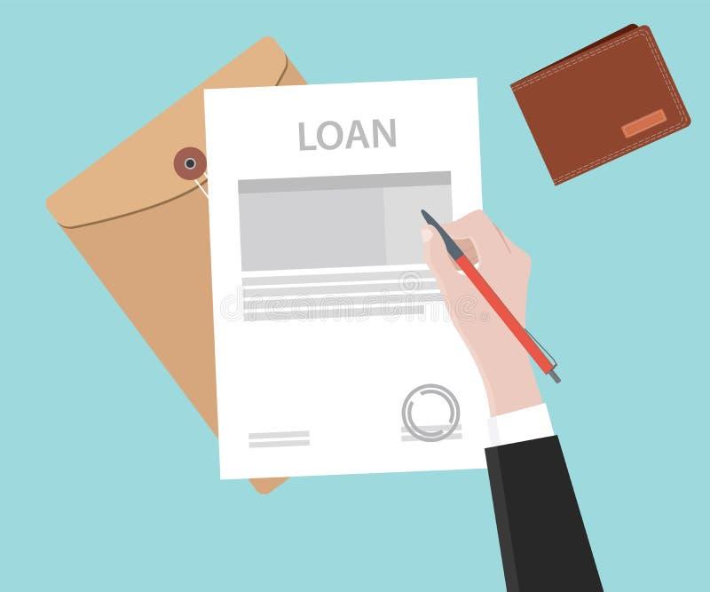 Υπογράψτε μια εφαρμογή δανείου στο έγγραφο εγγράφου διανυσματική απεικόνιση