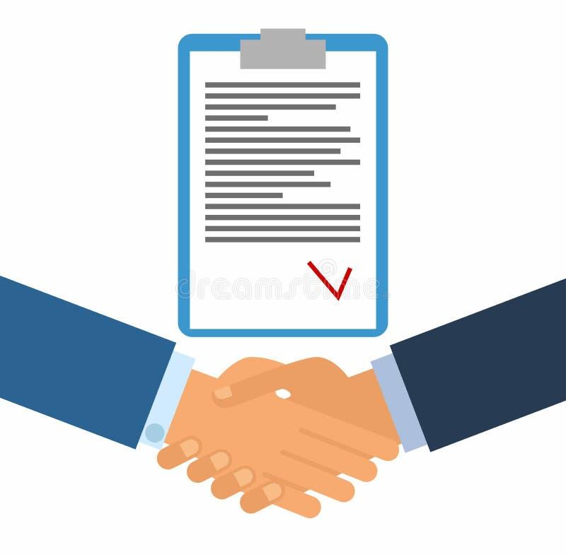 Υπογραφή μιας σύμβασης Επιχειρησιακή χειραψία για την έννοια διαπραγμάτευσης και ομαδικής εργασίας η διεθνής συνεργασία διανυσματική απεικόνιση