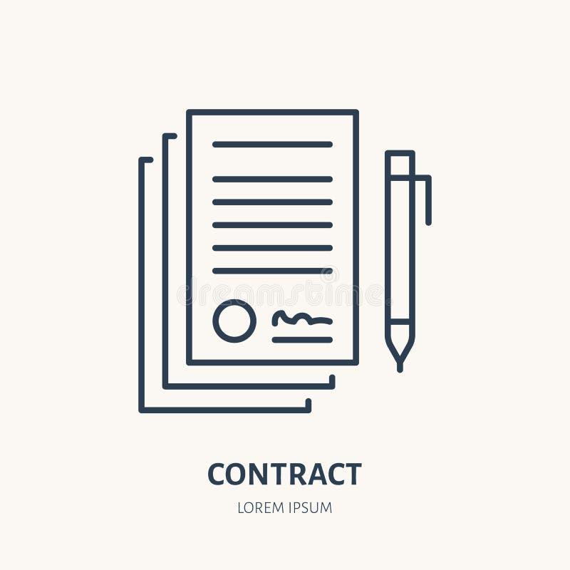 Υπογραφή της συμφωνίας, διανυσματικό επίπεδο εικονίδιο γραμμών συμβάσεων Σημάδι νομικών εγγράφων διανυσματική απεικόνιση