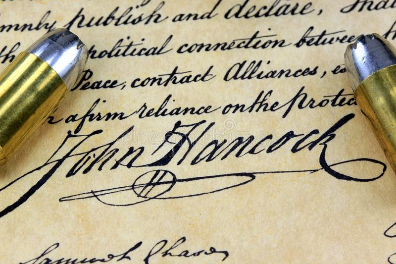 Υπογραφή του John Hancock - πυρομαχικά στο αμερικανικό σύνταγμα στοκ εικόνες με δικαίωμα ελεύθερης χρήσης