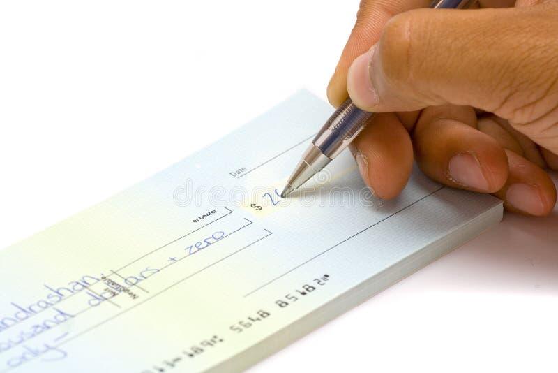 υπογραφή χεριών επιταγών στοκ φωτογραφίες