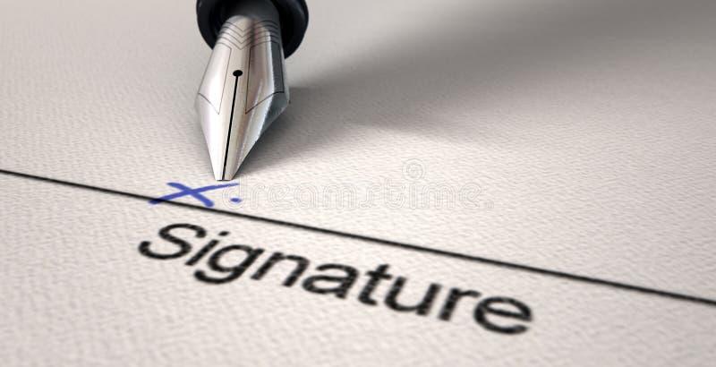 Υπογραφή Χ και μάνδρα πηγών στοκ φωτογραφία με δικαίωμα ελεύθερης χρήσης