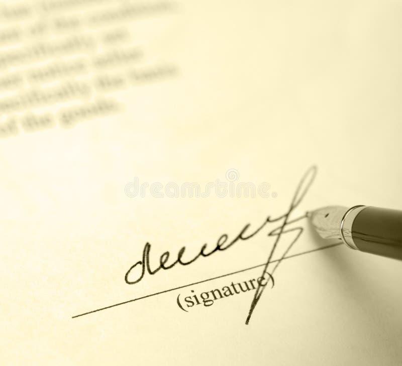 υπογραφή στοκ φωτογραφία