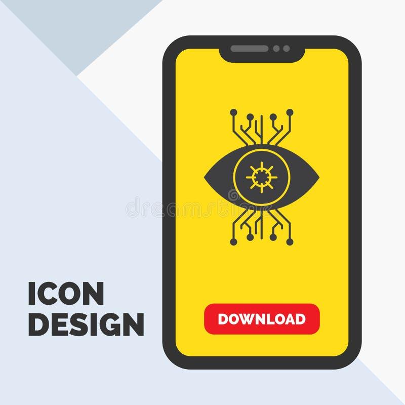 Υποδομή, έλεγχος, επιτήρηση, όραμα, εικονίδιο Glyph ματιών σε κινητό για Download τη σελίδα r ελεύθερη απεικόνιση δικαιώματος