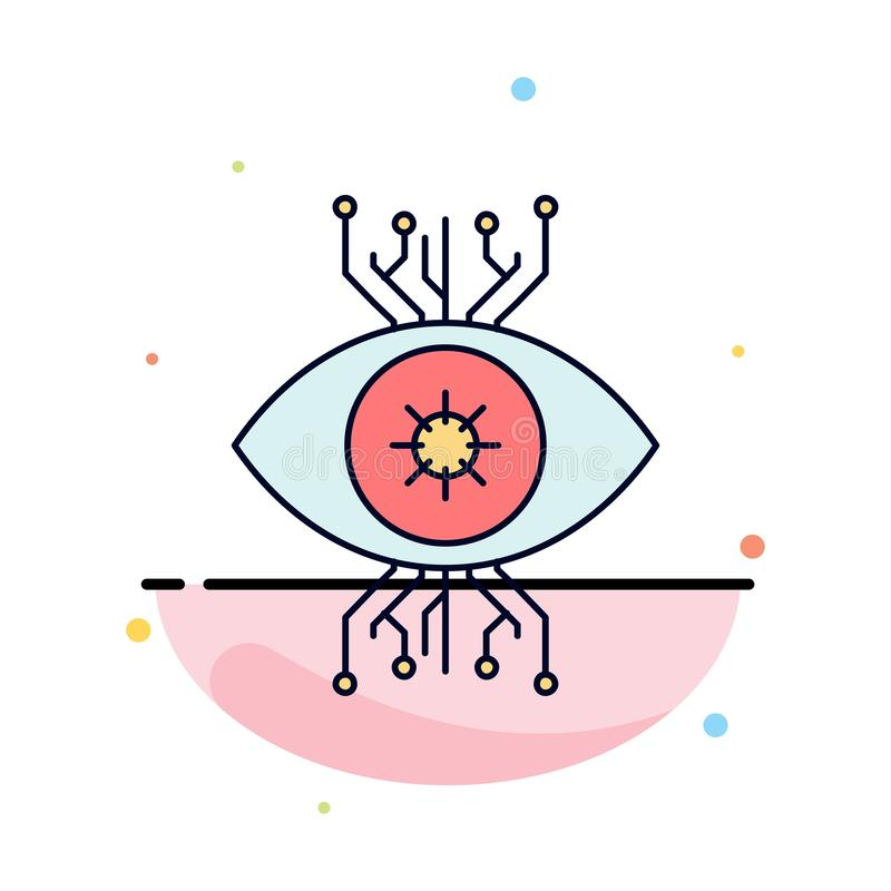 Υποδομή, έλεγχος, επιτήρηση, όραμα, επίπεδο διάνυσμα εικονιδίων χρώματος ματιών ελεύθερη απεικόνιση δικαιώματος
