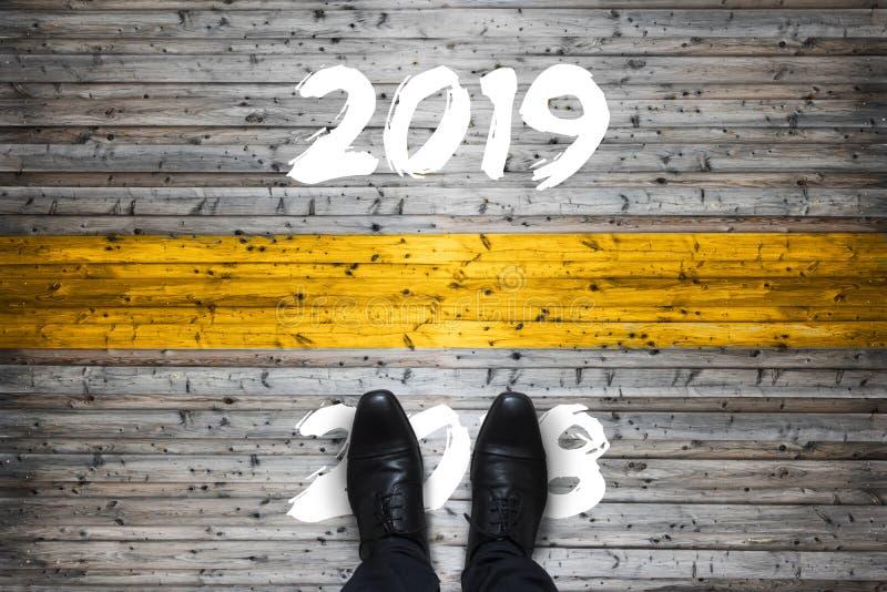 Υποδοχή 2019 - αντίο 2018 - έννοια έναρξης στοκ φωτογραφία