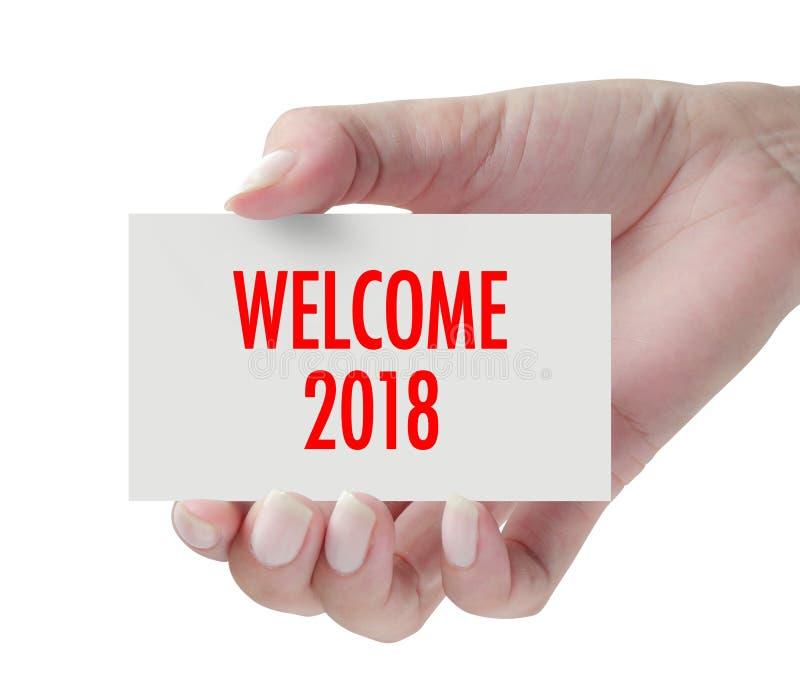 Υποδοχή 2018 με το χέρι στοκ εικόνα με δικαίωμα ελεύθερης χρήσης