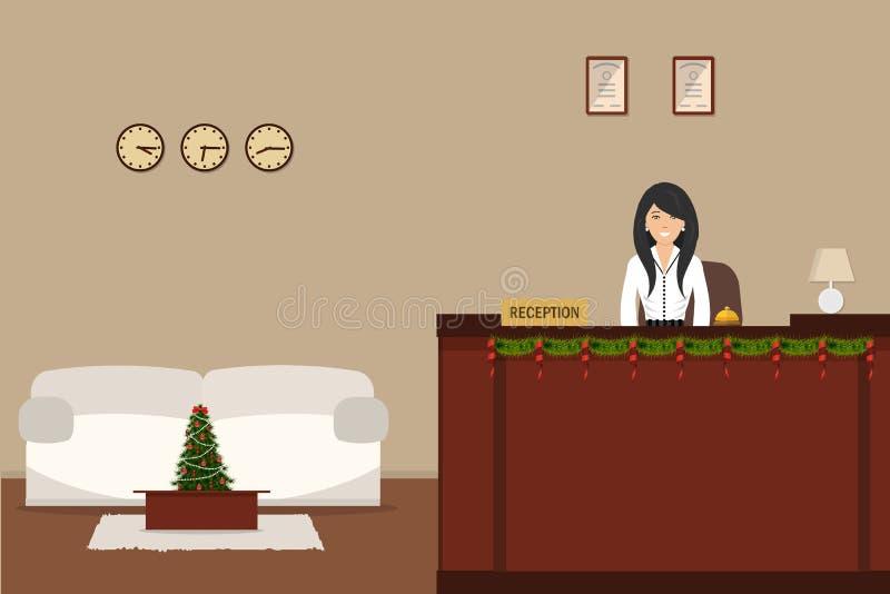 Υποδοχή ξενοδοχείων με τη διακόσμηση Χριστουγέννων ελεύθερη απεικόνιση δικαιώματος
