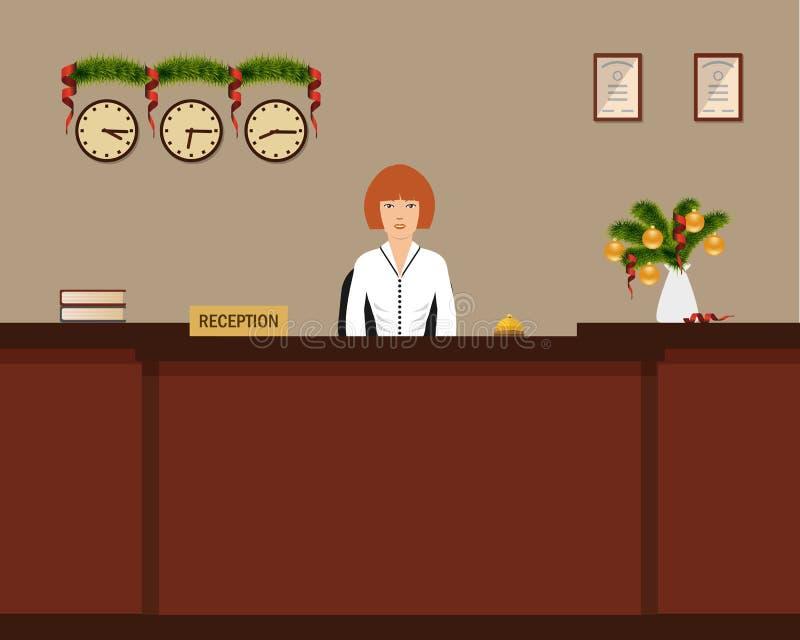 Υποδοχή ξενοδοχείων με τη διακόσμηση Χριστουγέννων απεικόνιση αποθεμάτων