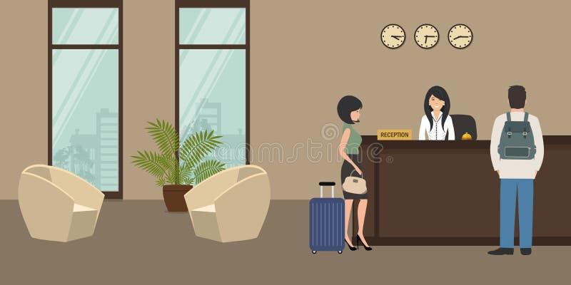 Υποδοχή ξενοδοχείων Ρεσεψιονίστ και επισκέπτες στην αίθουσα απεικόνιση αποθεμάτων