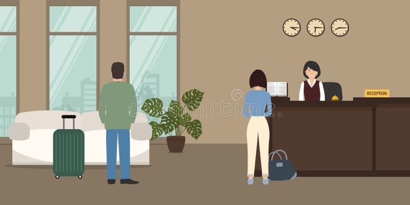 Υποδοχή ξενοδοχείων Ρεσεψιονίστ και επισκέπτες στην αίθουσα διανυσματική απεικόνιση