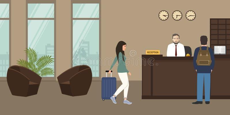 Υποδοχή ξενοδοχείων Στάσεις ατόμων ρεσεψιονίστ στο γραφείο υποδοχής απεικόνιση αποθεμάτων