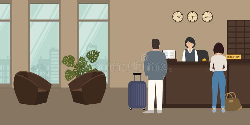 Υποδοχή ξενοδοχείων Στάσεις ρεσεψιονίστ στο γραφείο υποδοχής απεικόνιση αποθεμάτων