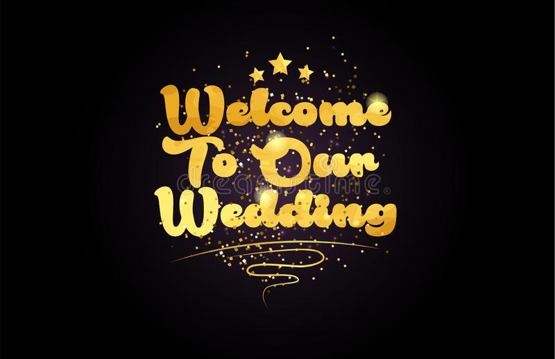 υποδοχή στο χρυσό εικονίδιο λογότυπων κειμένων λέξης χρώματος γαμήλιων αστεριών μας διανυσματική απεικόνιση