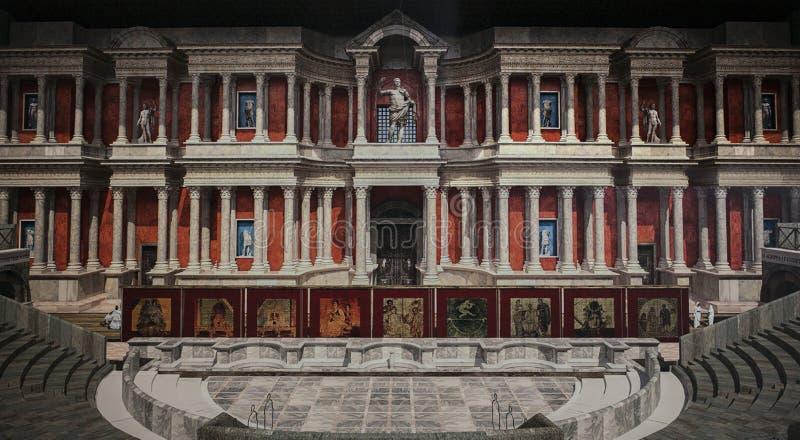 Υποθετική απεικόνιση του σκηνικού μπροστινού ρωμαϊκού θεάτρου του Μέριντα, S στοκ εικόνα