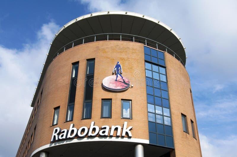 Υποκατάστημα τράπεζας Rabo με το όνομα και το λογότυπο επιχείρησης στοκ φωτογραφία με δικαίωμα ελεύθερης χρήσης
