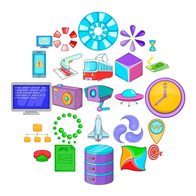 Υπολογίστε τα εικονίδια καθορισμένα, ύφος κινούμενων σχεδίων απεικόνιση αποθεμάτων