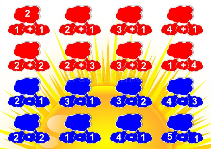 Υπολογισμός σε πέντε μικρά παιδιά διανυσματική απεικόνιση