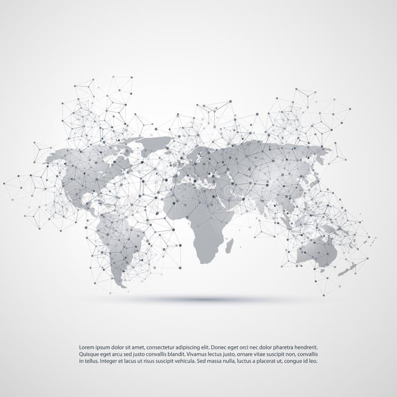 Υπολογισμός σύννεφων και έννοια δικτύων με τον παγκόσμιο χάρτη - σφαιρικές συνδέσεις ψηφιακών δικτύων, υπόβαθρο τεχνολογίας, δημι διανυσματική απεικόνιση