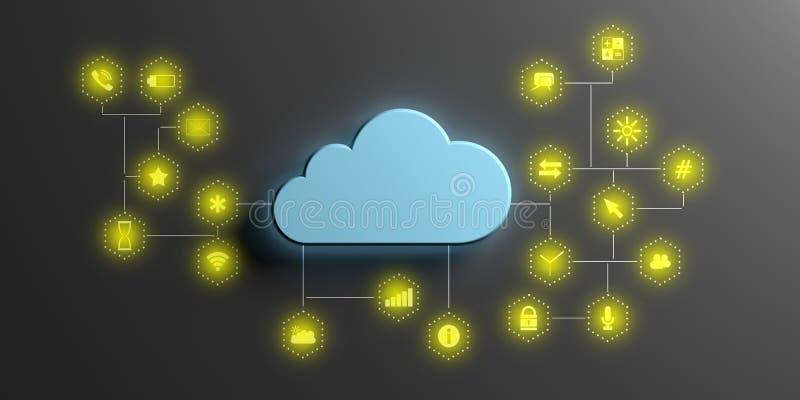 Υπολογισμός σύννεφων και κινητά apps Μπλε σύννεφο στο μαύρο υπόβαθρο τρισδιάστατη απεικόνιση απεικόνιση αποθεμάτων