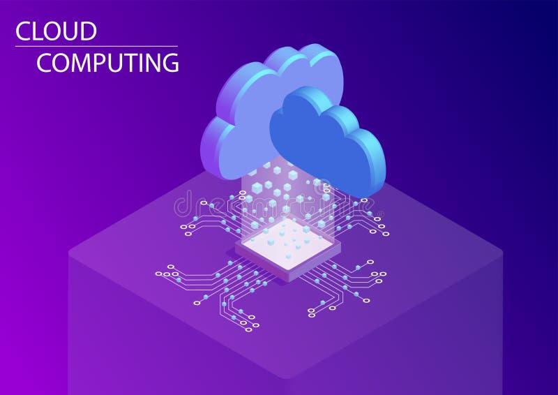 Υπολογισμός σύννεφων και ως έννοια υπηρεσιών τρισδιάστατη isometric διανυσματική απεικόνιση ελεύθερη απεικόνιση δικαιώματος
