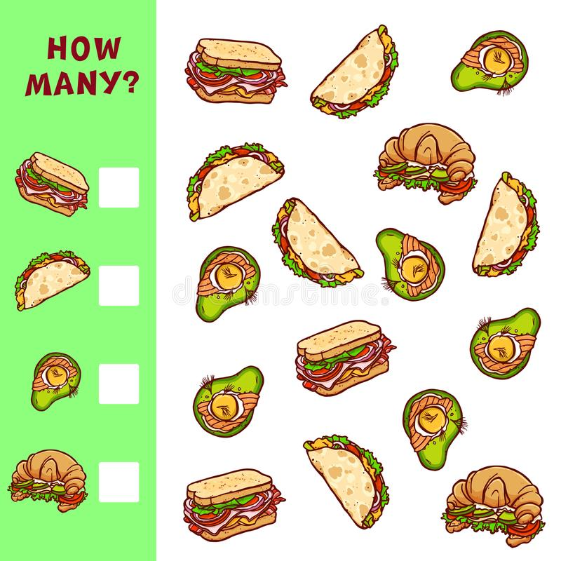 Υπολογισμός του εκπαιδευτικού παιχνιδιού για τα παιδιά Διανυσματική μαθηματική δραστηριότητα με τις απεικονίσεις τροφίμων διανυσματική απεικόνιση