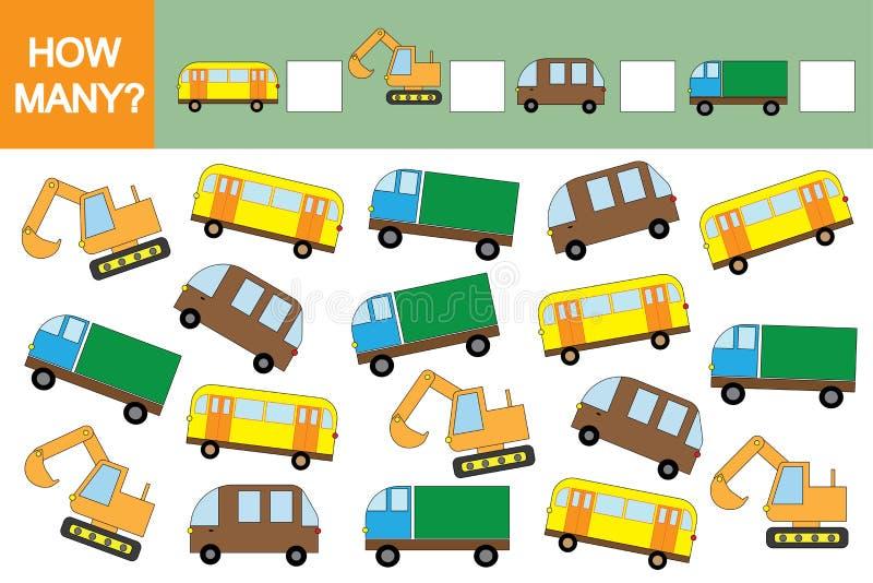 Υπολογισμός του εκπαιδευτικού παιχνιδιού για τα παιδιά Πόσα αυτοκίνητα μετέφεραν; Μαθηματικά απεικόνιση αποθεμάτων