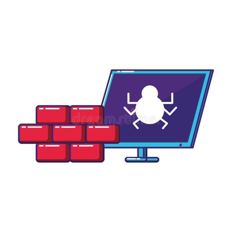 Υπολογιστής γραφείου με τον τοίχο ελεύθερη απεικόνιση δικαιώματος