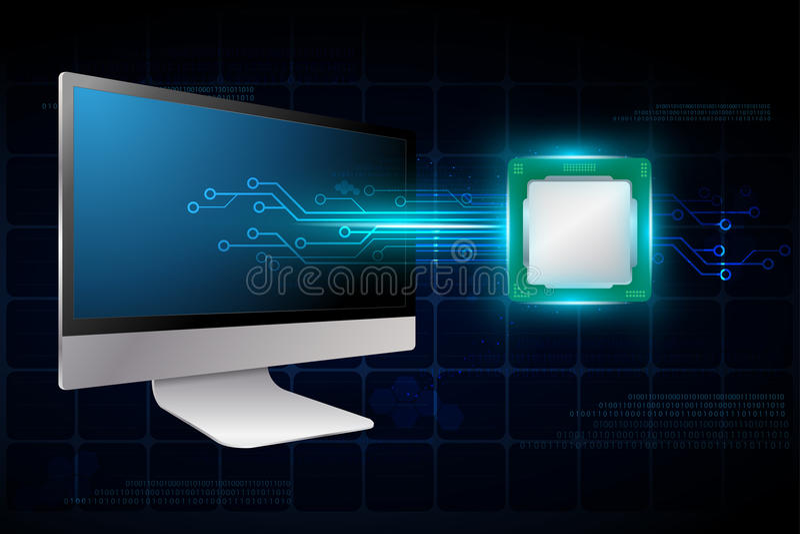 υπολογιστής γραφείου με το ηλεκτρονικό χαρτόνι κυκλωμάτων ελεύθερη απεικόνιση δικαιώματος