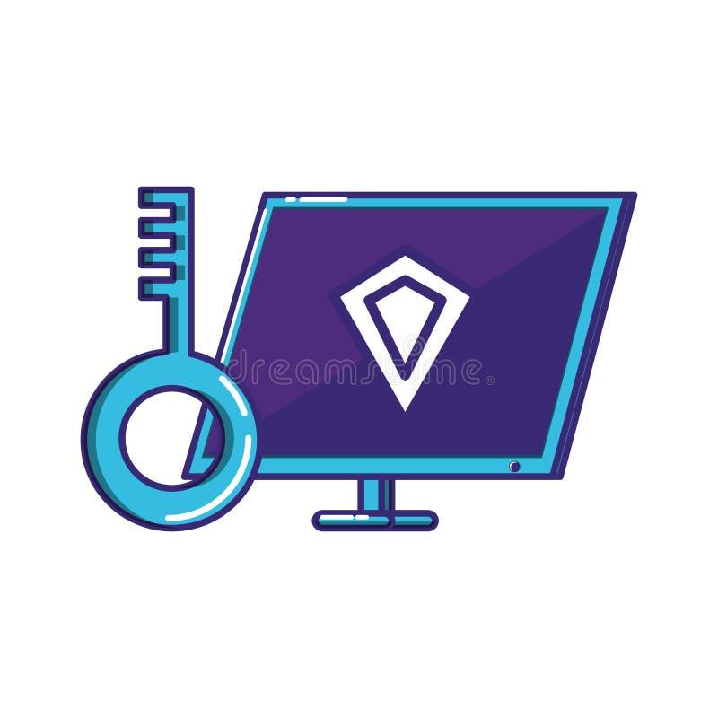 Υπολογιστής γραφείου με το κλειδί διανυσματική απεικόνιση